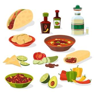Mexicaans eten set. taco en drankje, lunchmenu en peper en vlees, burrito en chili.