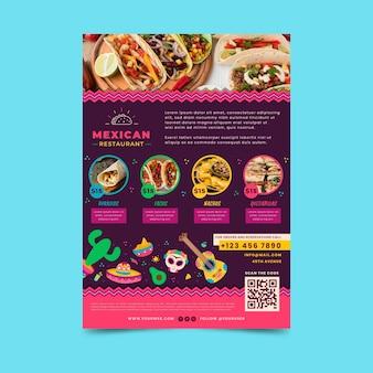 Mexicaans eten sjabloon folder met foto
