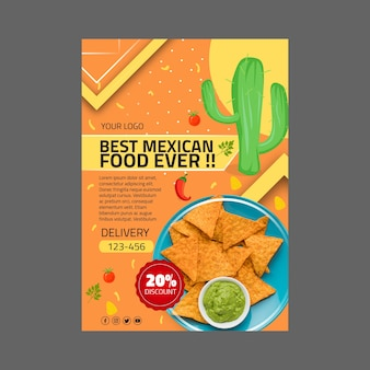 Mexicaans eten sjabloon folder
