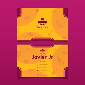 Mexicaans eten sjabloon voor horizontale visitekaartjes
