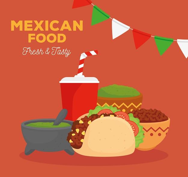 Mexicaans eten vers en smakelijk poster met taco, ingrediënten en flessendrank