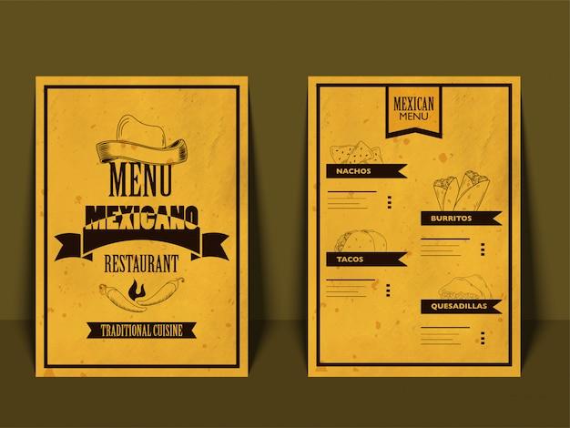 Mexicaans menu voor restaurant en café.