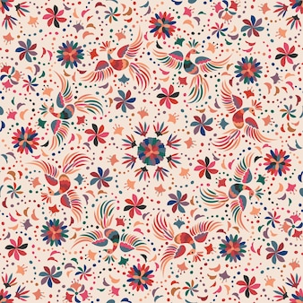 Mexicaans naadloos patroon met vogels en bloemen.
