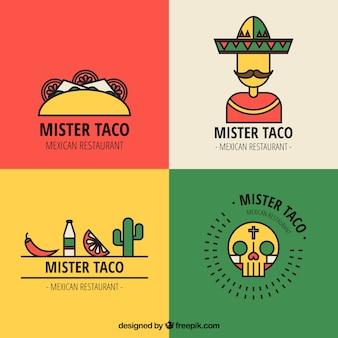 Mexicaans restaurant logo's met outline