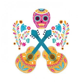 Mexicaans schedel en gitarenontwerp, latijn van het de cultuurtoerisme van mexico en de vectorillustratie van het partijthema