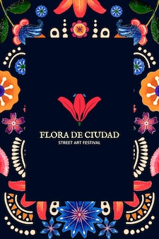 Mexicaanse bloemmotief sjabloon vector voor branding logo