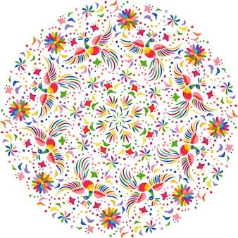 Mexicaanse borduurwerk ronde compositie. vogels en bloemen