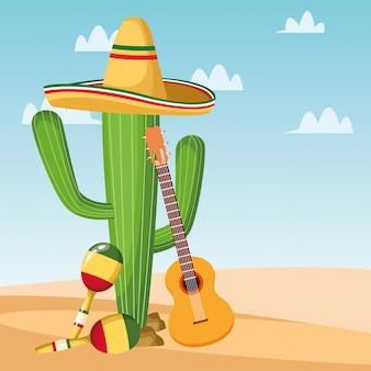 Mexicaanse cactusmaracas en gitaar
