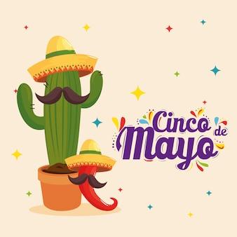 Mexicaanse cactusspaanse peper met hoeden en snorren van cinco de mayo