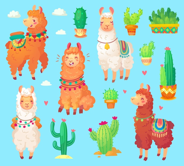 Mexicaanse cartoon schattige alpaca lama