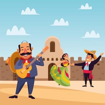 Mexicaanse cartoonmensen