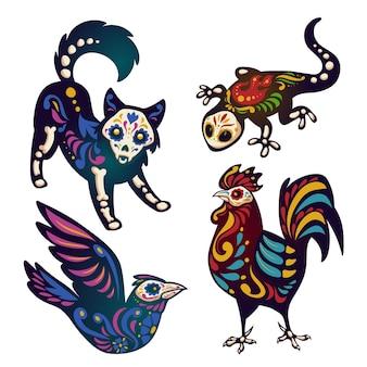 Mexicaanse dag van de dode illustratie set met skeletten van dieren