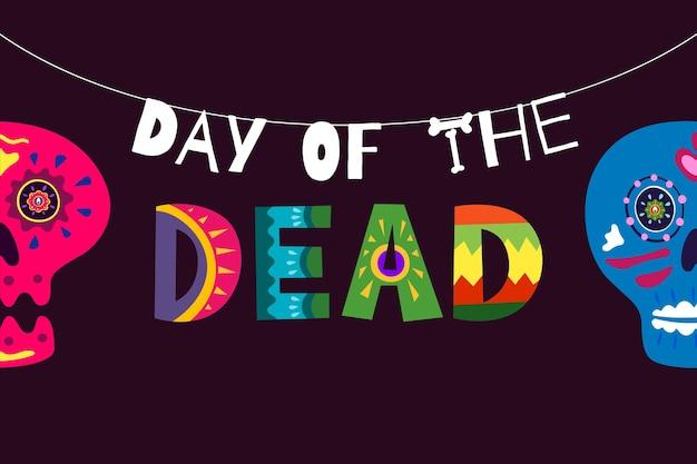Mexicaanse dag van de doden dia de los muertos poster. mexico nationale rituele festival wenskaart met hand getrokken decoratie belettering en suiker schedel skelet op zwarte achtergrond. vector illustratie