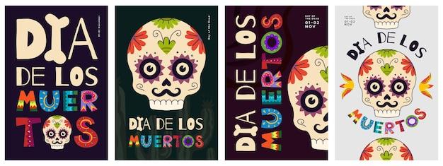 Mexicaanse dag van de doden poster set dia de los muertos nationale festival wenskaarten