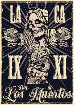 Mexicaanse dag van dood zwart-wit poster Premium Vector