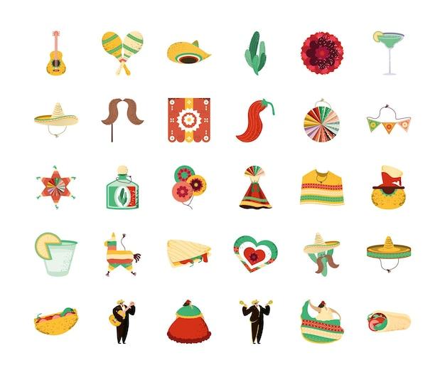 Mexicaanse elementen instellen afbeelding