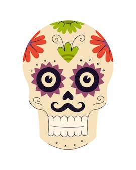 Mexicaanse feestdag van de dode suikerschedels met bloemen- en plantpatronen traditioneel mexico