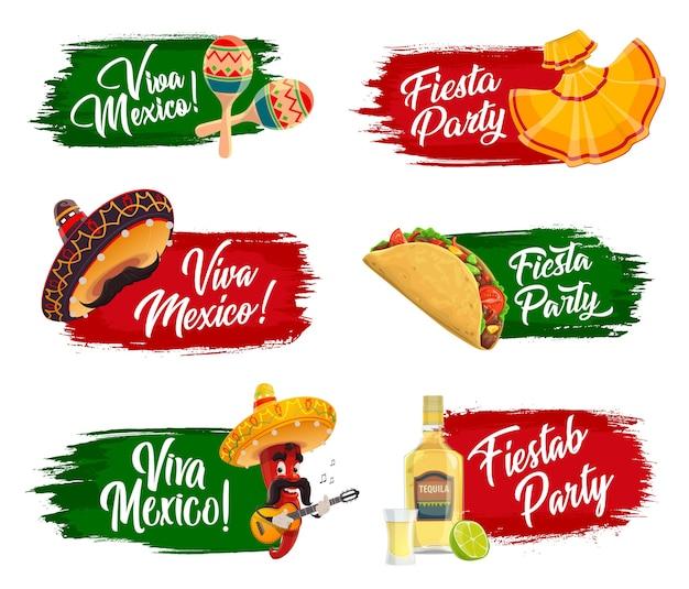 Mexicaanse feestdagen pictogrammen.