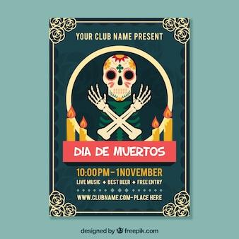 Mexicaanse feestelijke poster met skelet