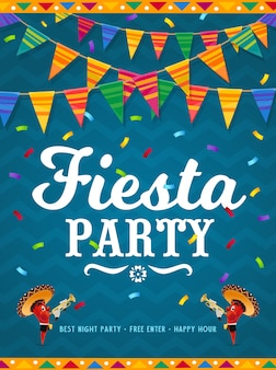Mexicaanse fiesta party poster met stripfiguren van rode chili peper.
