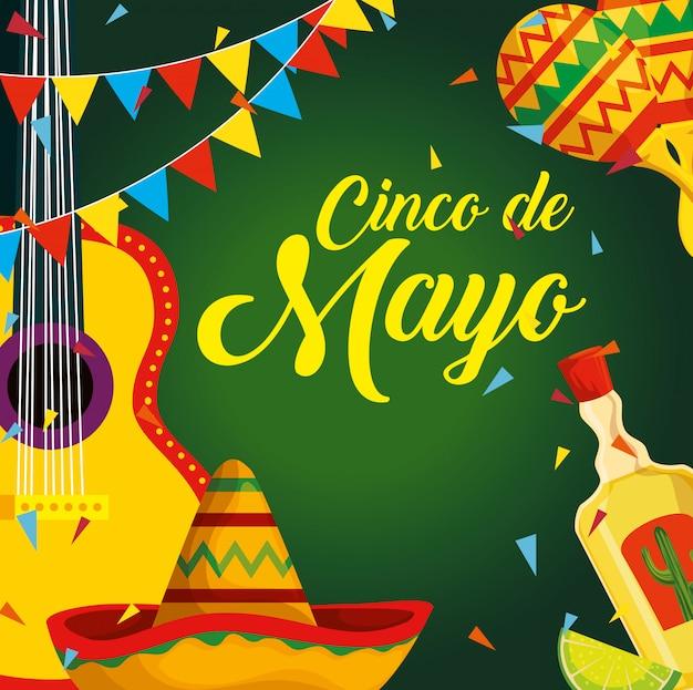 Mexicaanse gitaar met hoed en tequila naar evenement