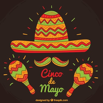 Mexicaanse hoed achtergrond met maracas