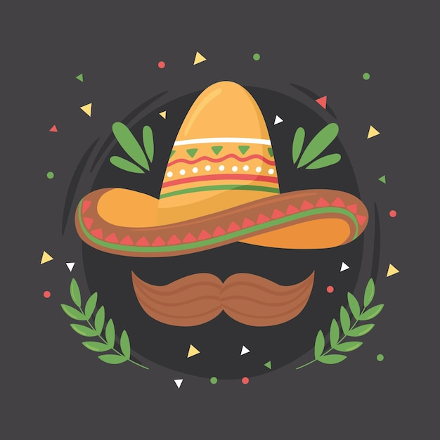 Mexicaanse hoed en snor