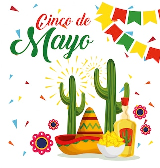 Mexicaanse hoed met cactus en tequila naar evenement
