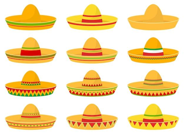 Mexicaanse hoed set illustratie geïsoleerd op een witte achtergrond