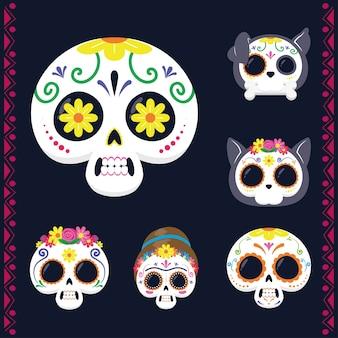Mexicaanse hoofden schedels instellen vlakke stijl iconen