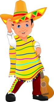 Mexicaanse jongen met hoed en poncho