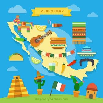 Mexicaanse kaart met culturele elementen