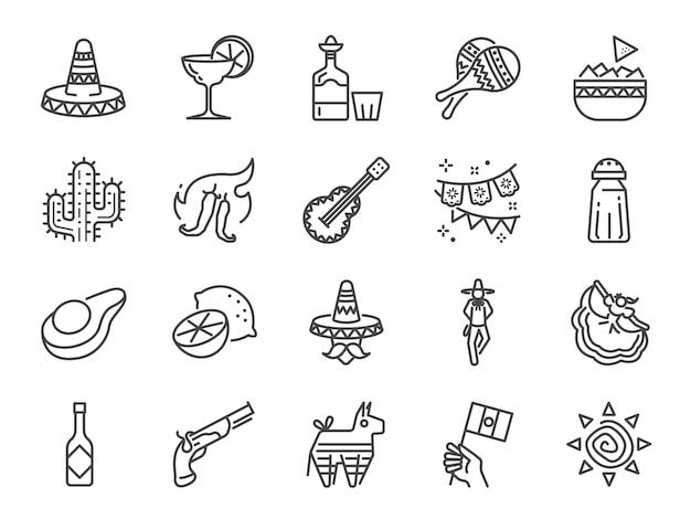 Mexicaanse lijn pictogramserie.