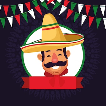 Mexicaanse man gezicht avatar pictogram cartoon