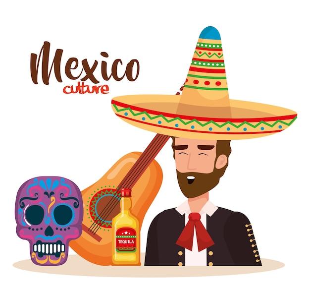 Mexicaanse mariachi met set iconen karakter