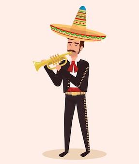 Mexicaanse mariachi met trompetkarakter