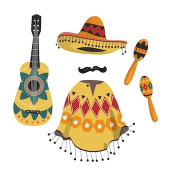 Mexicaanse muziekinstrumenten, een nationale poncho en een hoed.