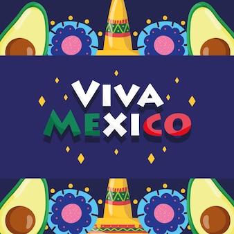 Mexicaanse onafhankelijkheidsdag, avocado-hoeden bloemen belettering, viva mexico wordt gevierd op illustratie van september