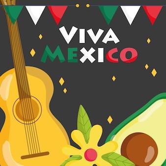 Mexicaanse onafhankelijkheidsdag, decoratie van avocado en gitaarbloemen, viva mexico wordt gevierd op illustratie van september
