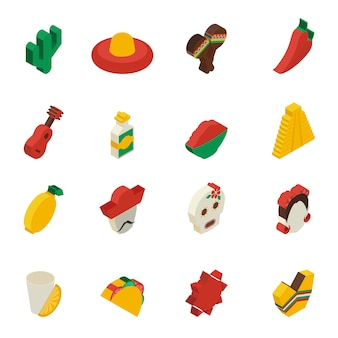 Mexicaanse pictogrammen isometrisch