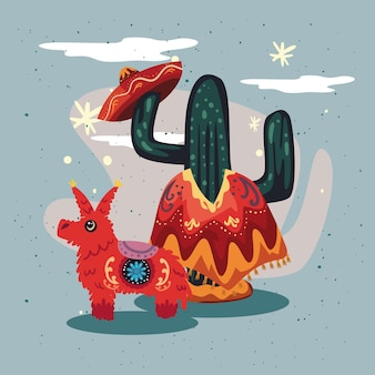 Mexicaanse piñata en cactus