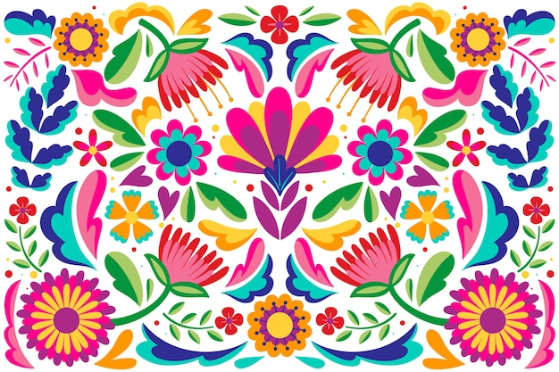 Mexicaanse platte ontwerp abstract floral achtergrond