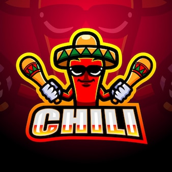 Mexicaanse rode chili peper mascotte illustratie