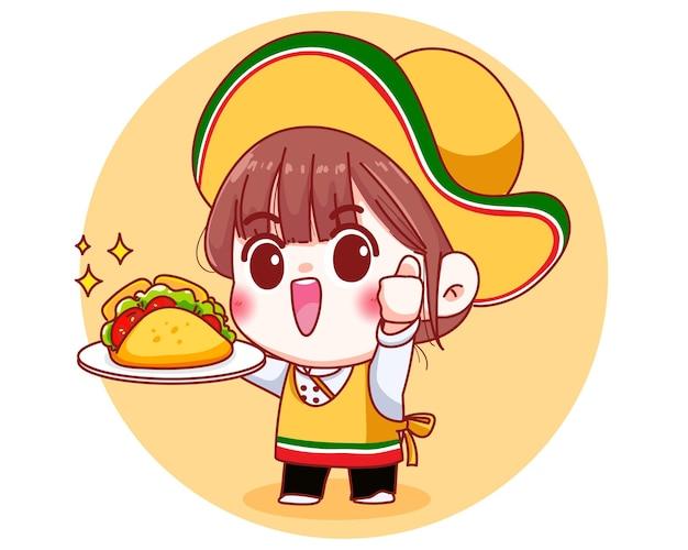Mexicaanse schattige chef-kok met taco's cartoon afbeelding