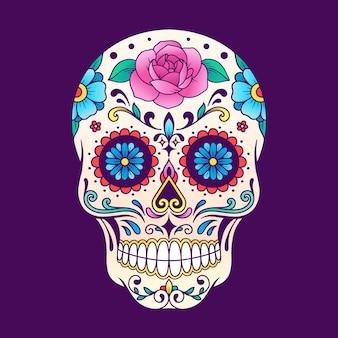 Mexicaanse schedel de dag van de dood illustratie