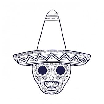 Mexicaanse schedel met hoed geïsoleerde pictogram