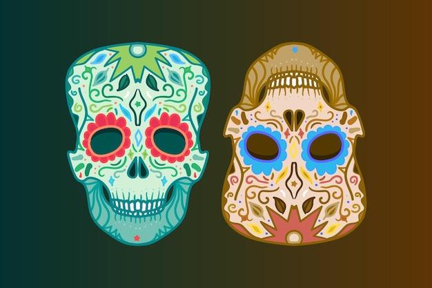 Mexicaanse schedel met ornament om af te drukken, sticker, wrap, poster en begroeting. dag van de dood. vector