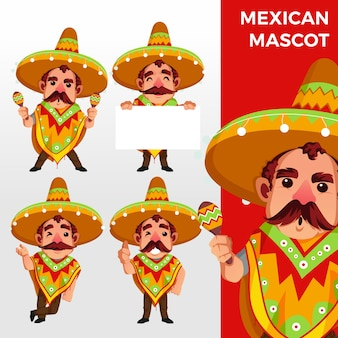 Mexicaanse sobrero mascotte tekenset logo