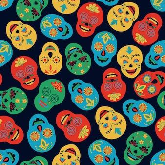 Mexicaanse stijl naadloze patroon geschilderd schedels op zwarte achtergrond volkskunst hand tekenen
