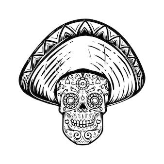 Mexicaanse suikerschedel in sombrero. dag van de doden thema. ontwerpelement voor poster, t-shirt, embleem, teken. vector illustratie